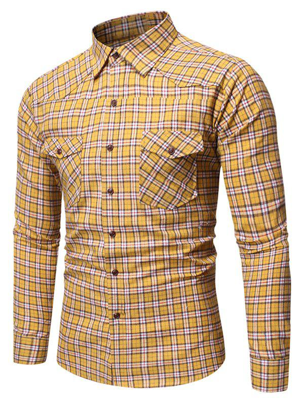 Plaid Pattern Pocket Design Casual Shirt - GOLDEN BROWN M
