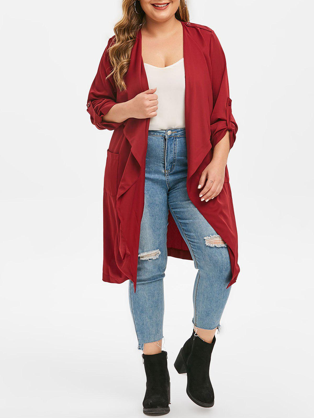 Plus Size Open Front Roll Tab Sleeve Trench Coat - RED WINE L