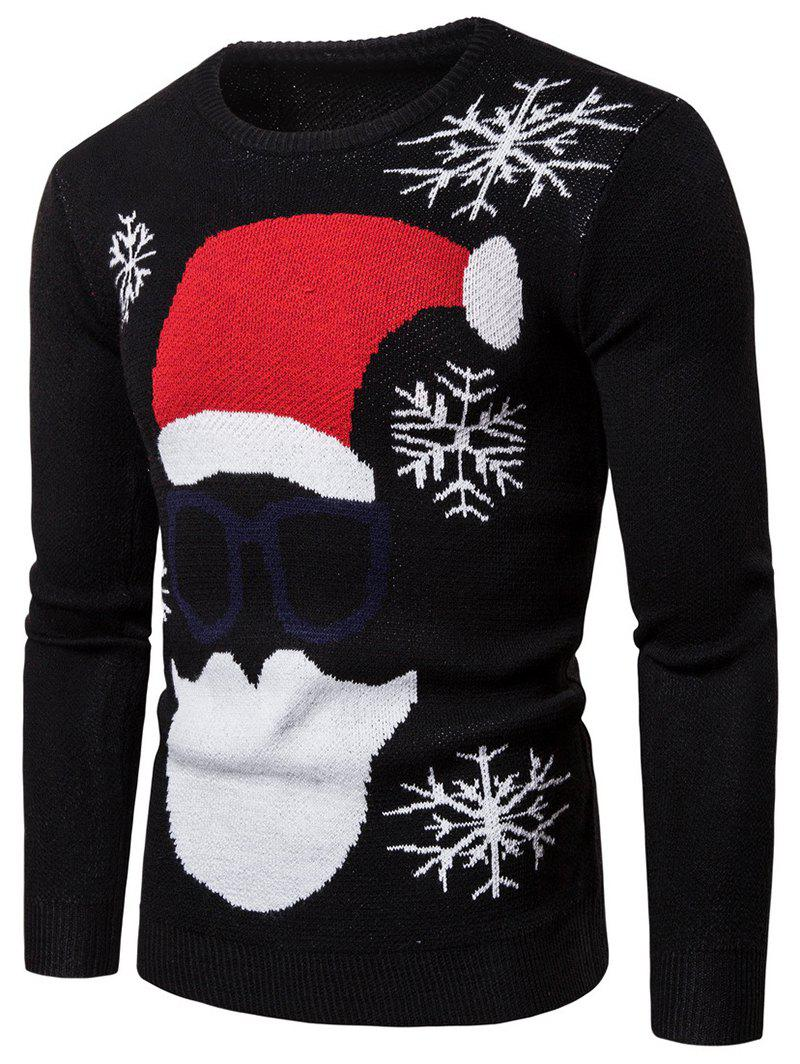 Christmas Santa Claus Pattern Sweater - BLACK XL