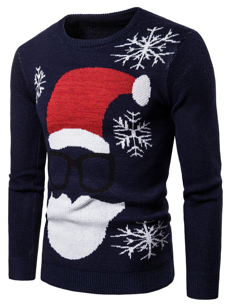 Christmas Santa Claus Pattern Sweater - CADETBLUE M
