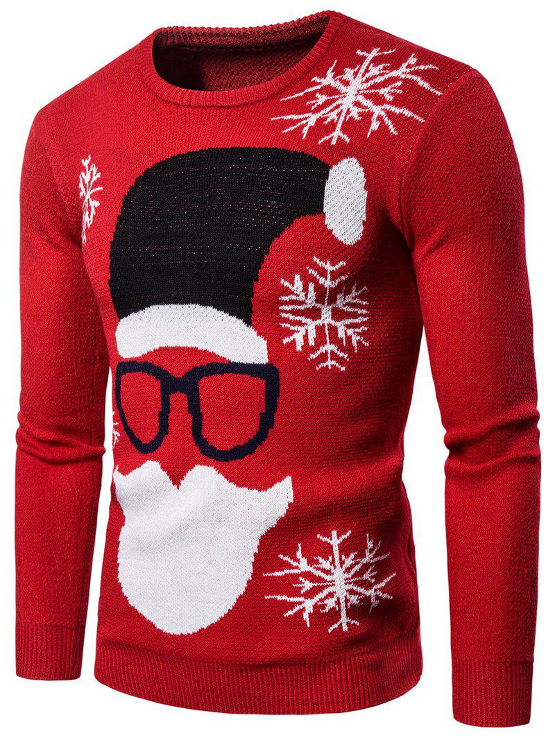 Christmas Santa Claus Pattern Sweater - RED L