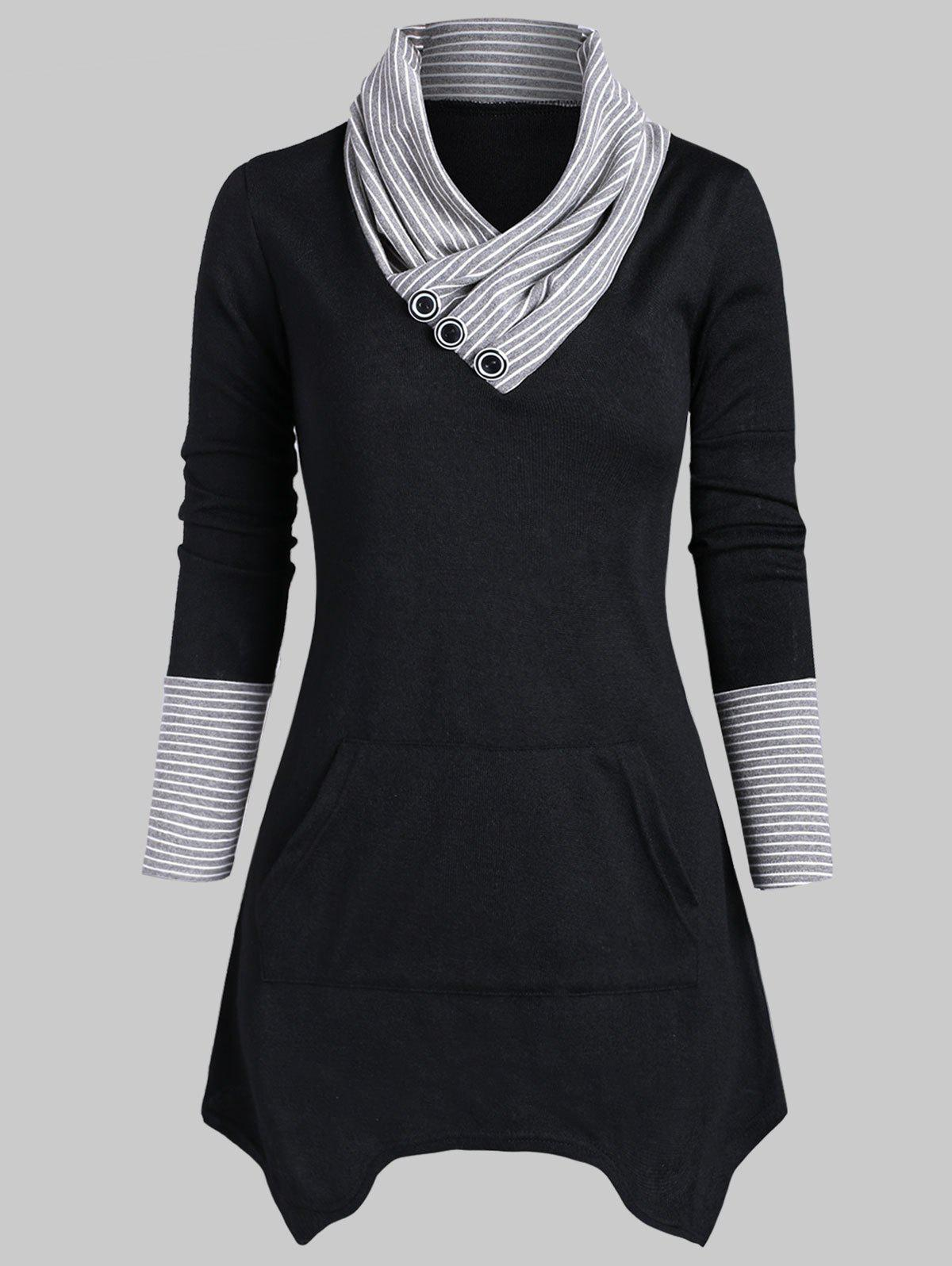 Striped Button Embellished Longline Knitwear - BLACK 3XL