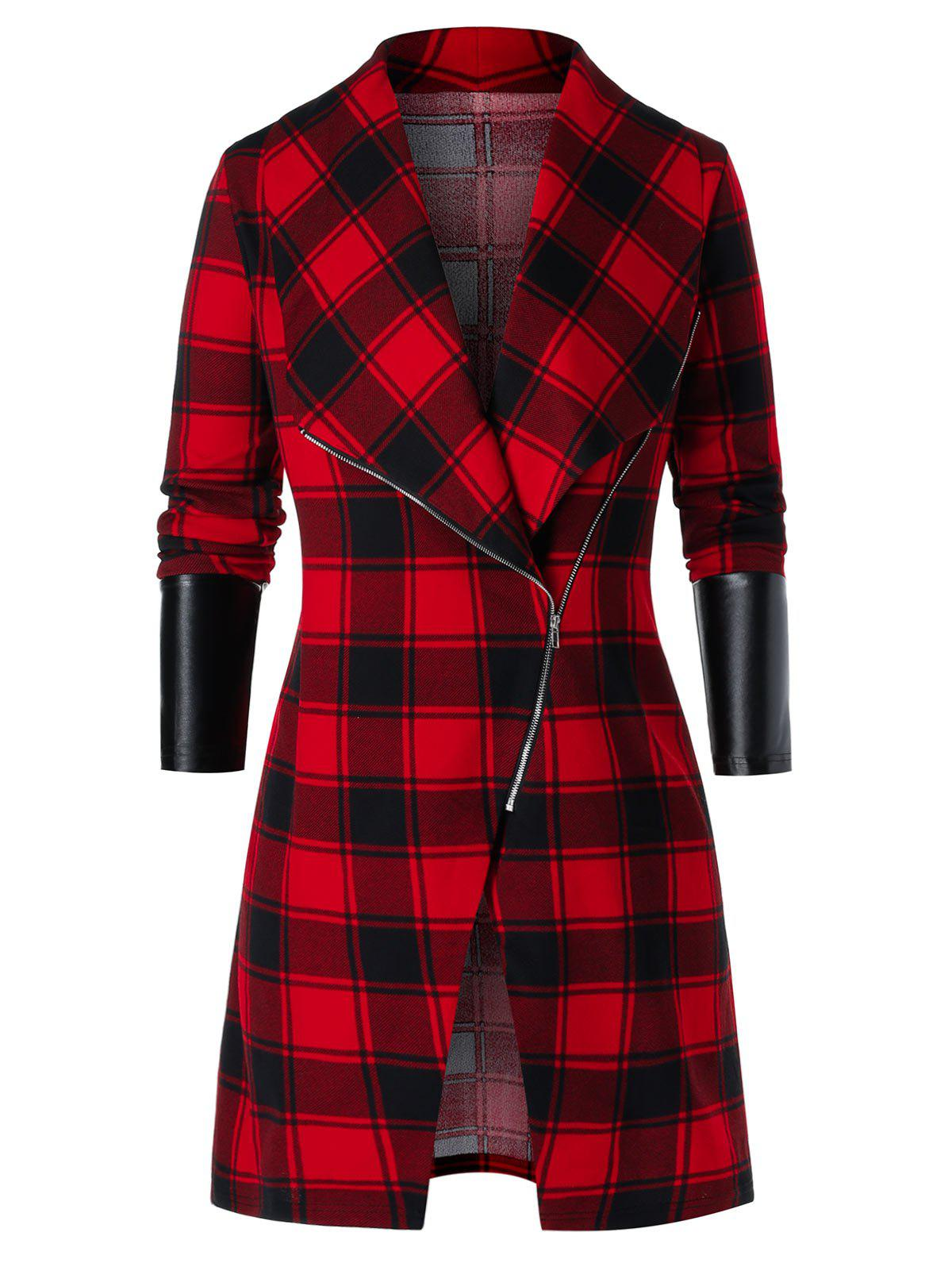 Plus Size Asymmetric Zip Plaid PU Leather Panel Tunic Coat - RED 3X