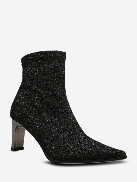 Shiny Pointed Toe Chunky Heel Boots - BLACK EU 36