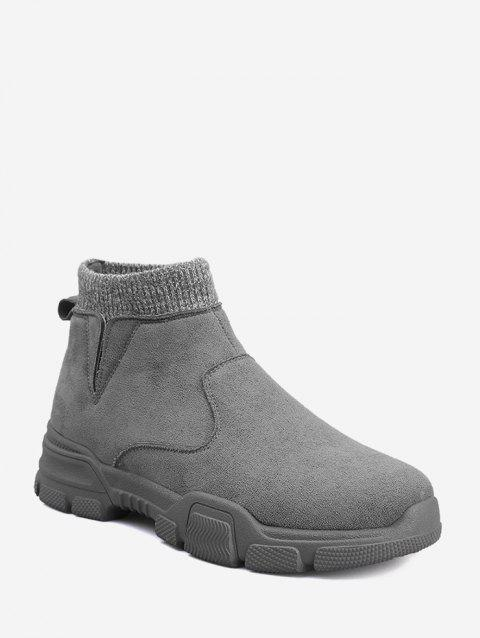 Faux Suede Patch Sock Ankle Boots - GRAY EU 41