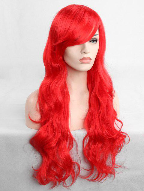 Long Inclined Fringe Wavy Cosplay Synthetic Wig - RED