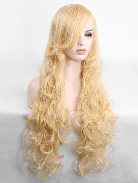Long Inclined Fringe Wavy Cosplay Synthetic Wig - GOLD