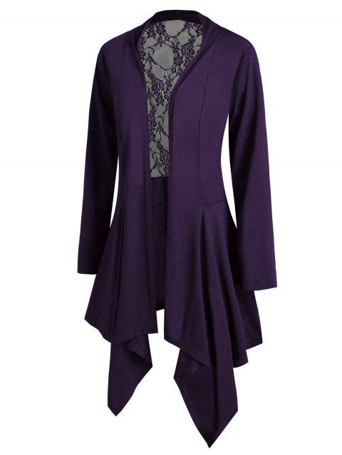 Lace Panel Open Front Handkerchief Plus Size Cardigan - PURPLE 5X