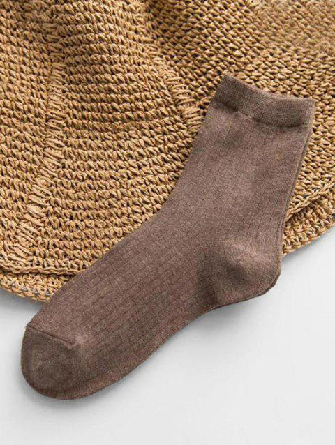 Cotton Solid Striped Quarter Length Socks - DEEP COFFEE