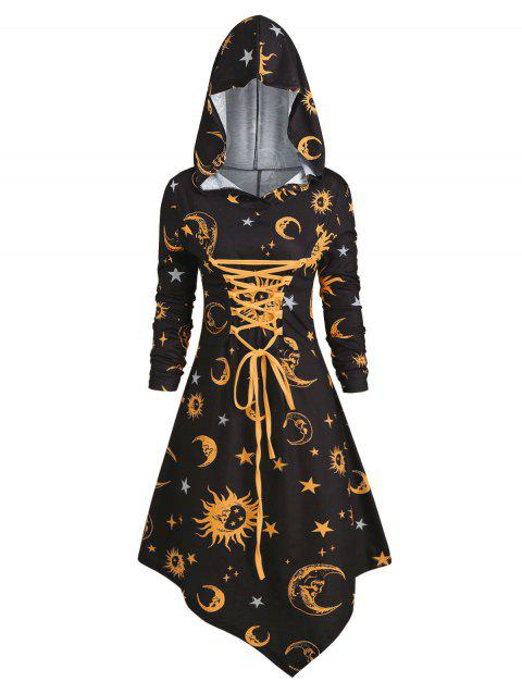 Skull Sun and Moon Lace Up Halloween Hooded Dress - YELLOW 3XL