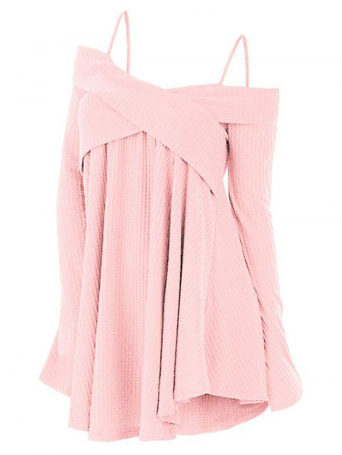 Plus Size Cold Shoulder Criss Cross Cami Knitwear - PINK 4X