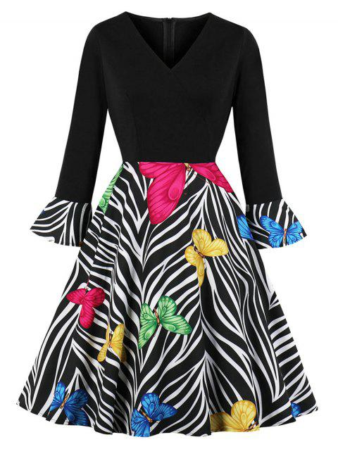 Butterfly Zebra Print Fit and Flare Dress - BLACK 2XL