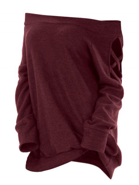 Plus Size Off The Shoulder Criss Cross T Shirt - RED WINE 2X