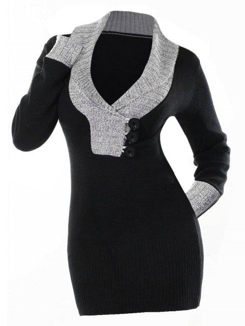Color Block Shawl Collar Bodycon Sweater Dress - BLACK L