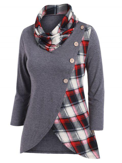 Plaid Mock Button Tulip Hem T-shirt - GRAY 3XL