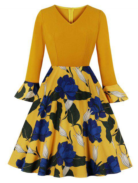 Floral Trumpet Sleeve Fit and Flare Dress - YELLOW 2XL