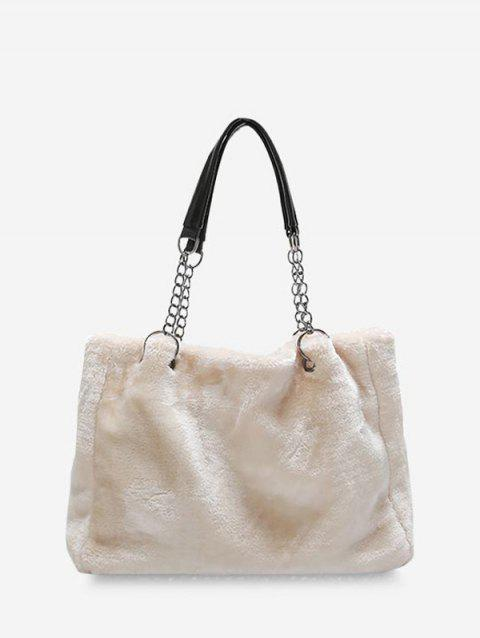 Sac à Main Rectangle à Chaîne en Couleur Unie en Peluche - Blanc Chaud