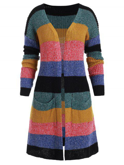 Plus Size Striped Colorblock Chunky Cardigan - multicolor 2X