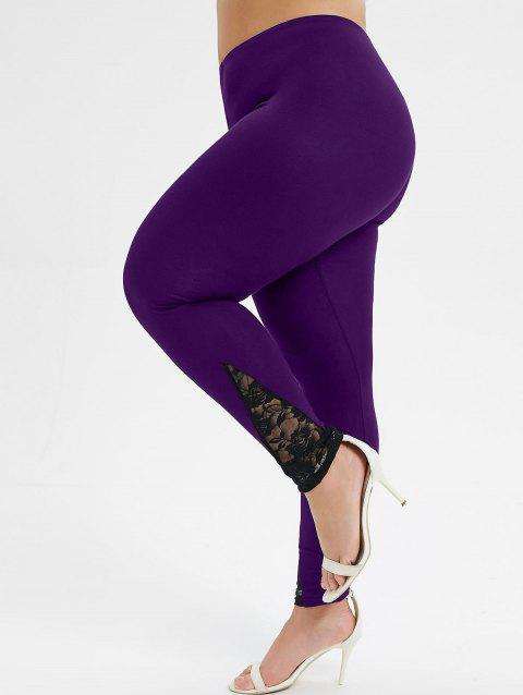 Plus Size High Rise Lace Panel Leggings - PURPLE IRIS 5X