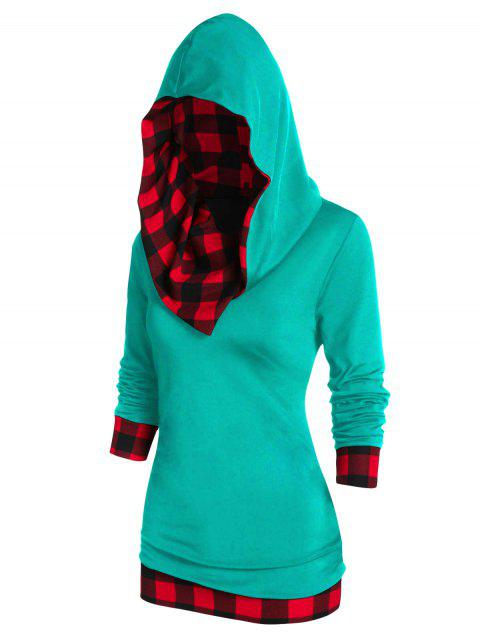 Checked Panel Hooded Long Sleeve T Shirt - RED WINE 3XL