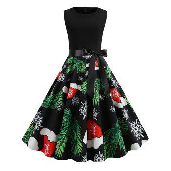 Tree Hat Snaowflake Print Christmas Dress