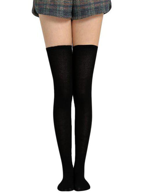 Solid Color Thigh High Socks - BLACK