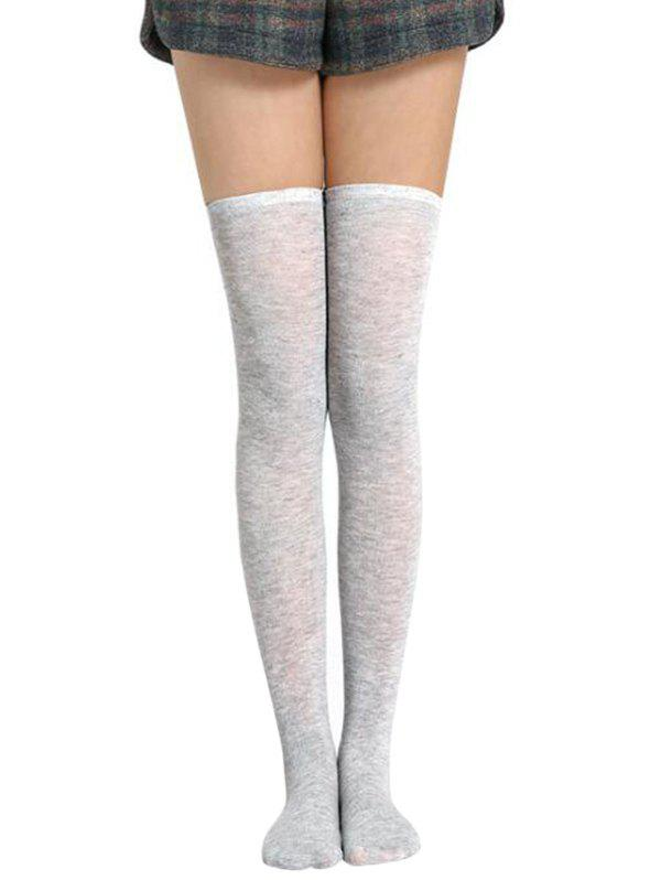 Solid Color Thigh High Socks - GRAY