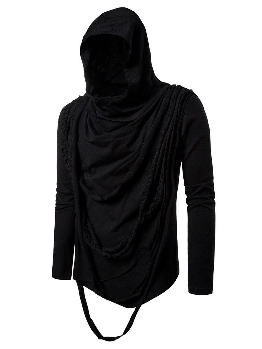 Solid Color Braided Rope Decoration Hoodie - BLACK 2XL