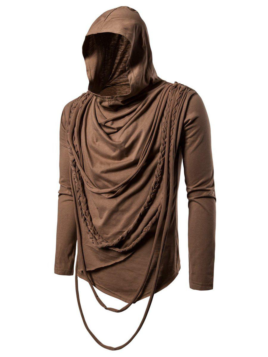 Solid Color Braided Rope Decoration Hoodie - BROWN 2XL
