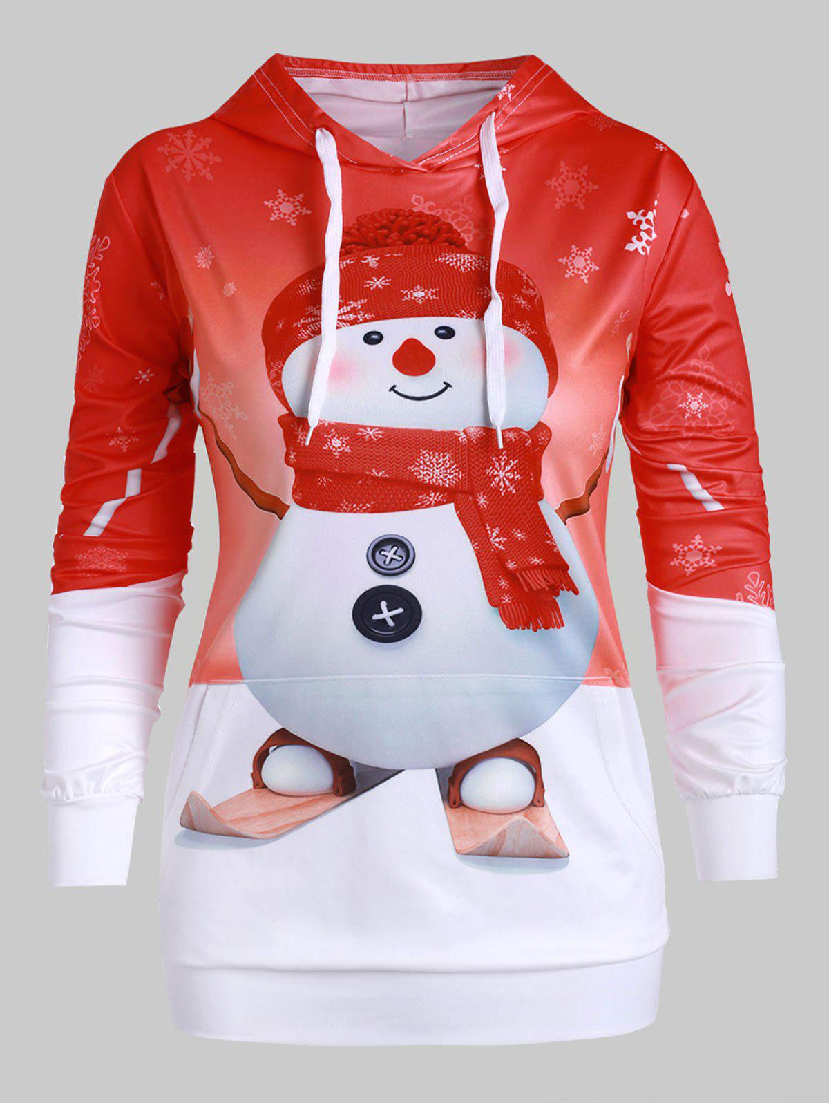 Snowman Print Front Pocket Plus Size Christmas Hoodie - RED L