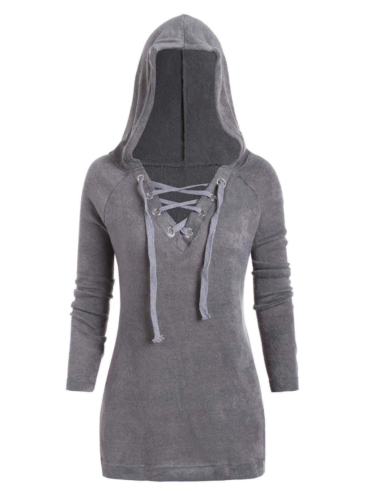 Plus Size Lace Up capuche Maille - Nuage Gris 1X