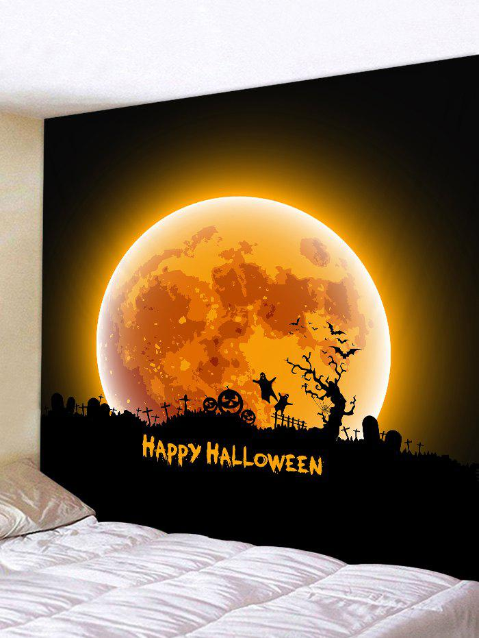 Halloween Moon Night Cemetery Print Tapestry Wall Hanging Art Decoration - PAPAYA ORANGE W59 X L59 INCH