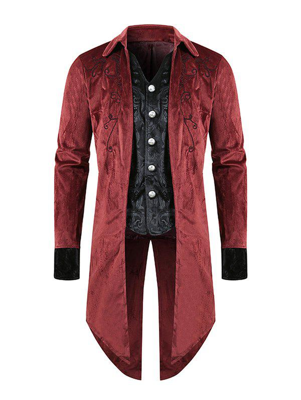 Manteau Long Gothique Fendu au Dos à Simple Boutonnage en Jacquard - Rouge L
