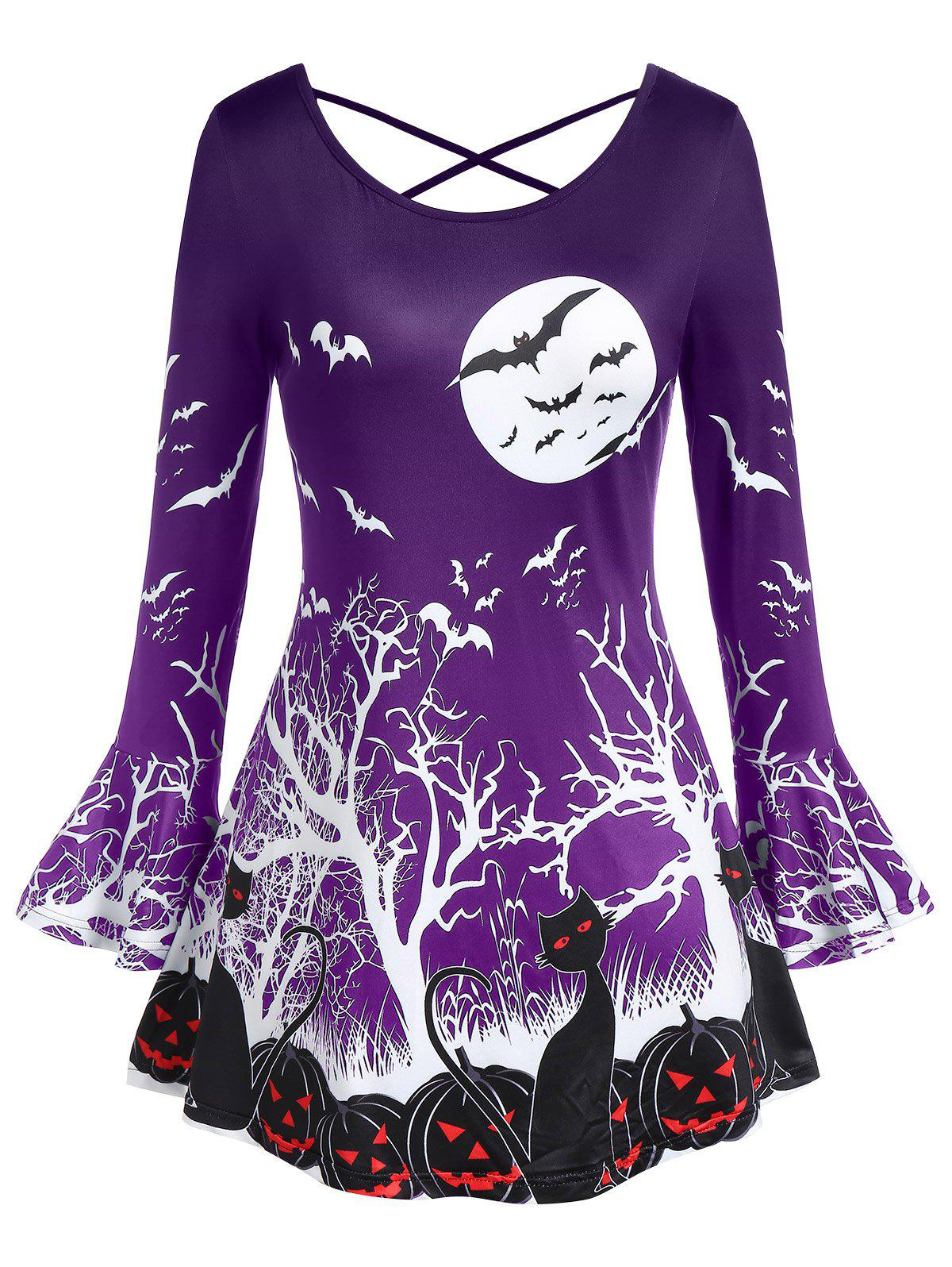 Plus Size Round Collar Punpkin Print Flare Halloween T Shirt - PURPLE IRIS 5X