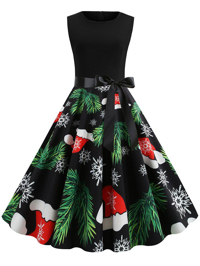 Tree Hat Snaowflake Print Christmas Dress - multicolor XL