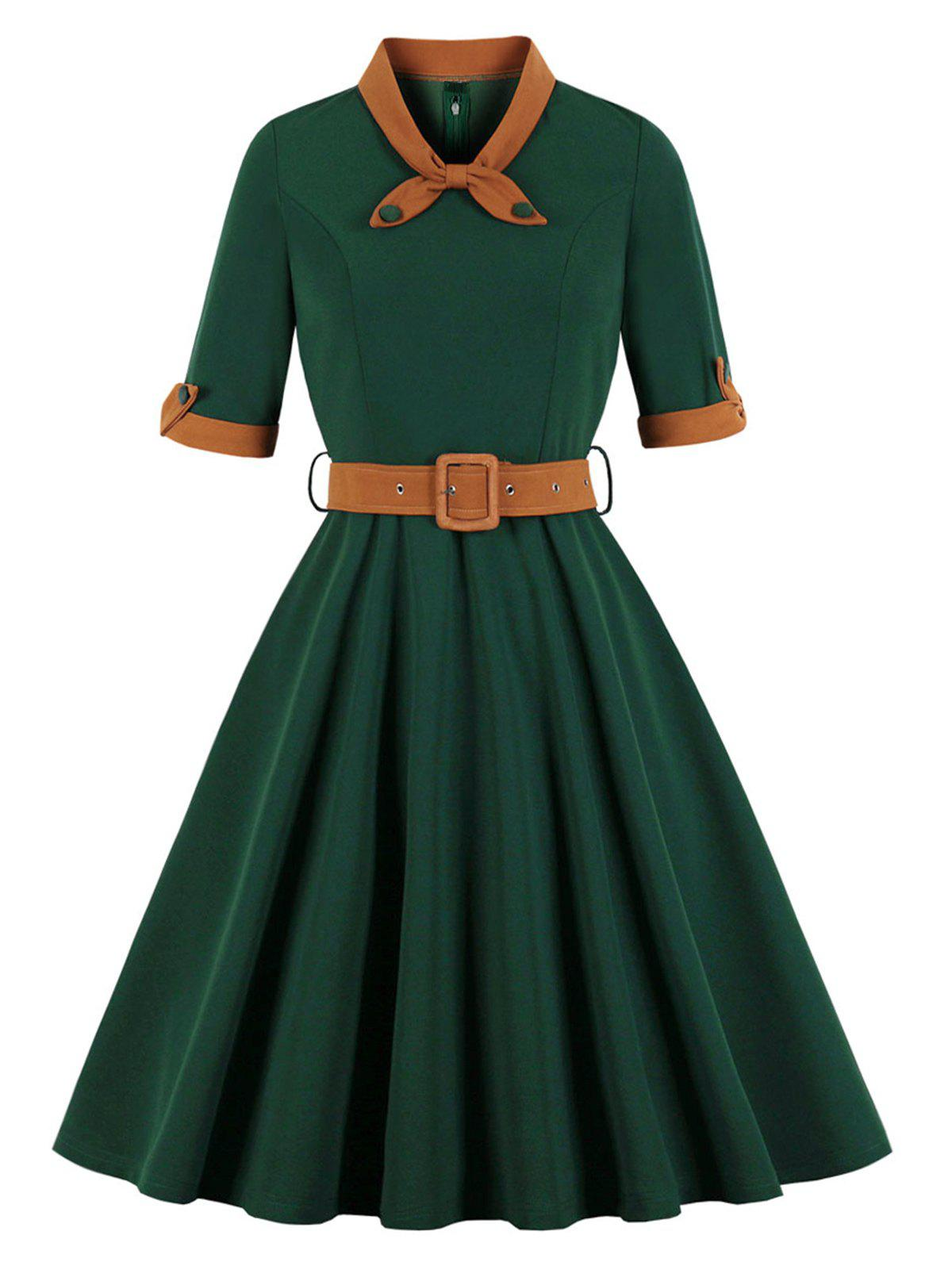Vintage Bowknot Fit and Flare Dress - GREEN S