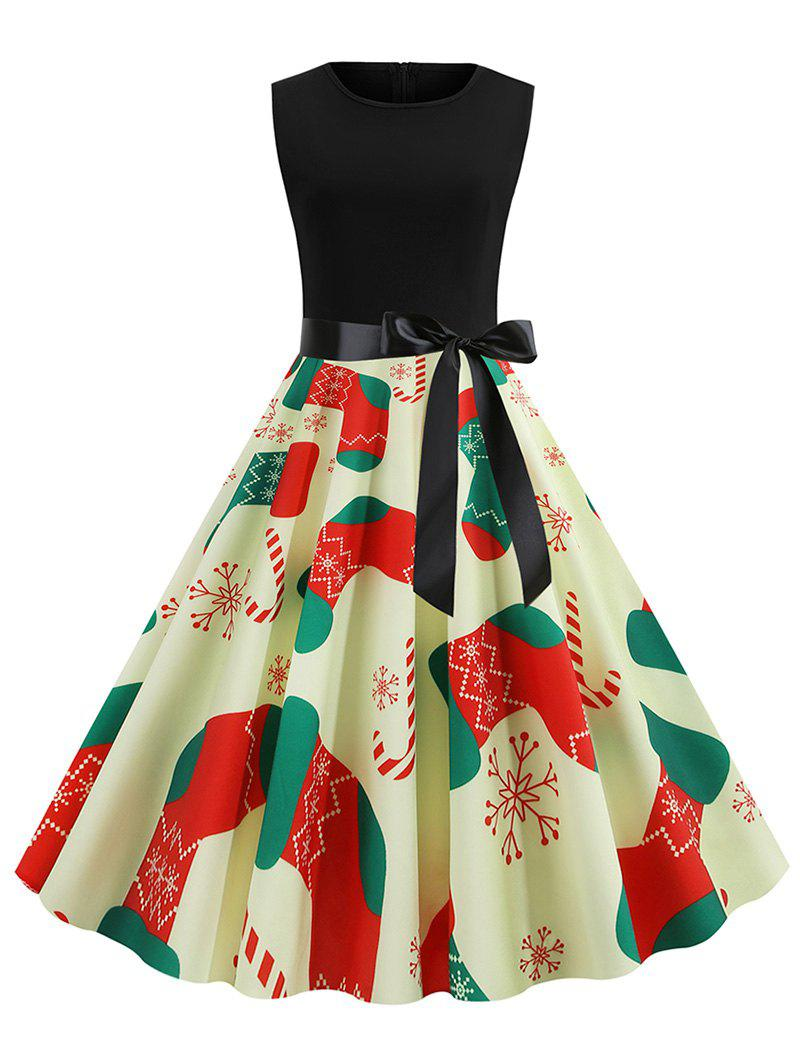 Christmas Stockings Print Fit and Flare Dress - multicolor 2XL