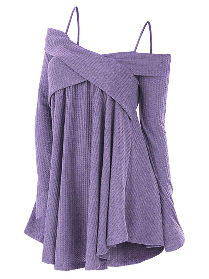 Plus Size Cold Shoulder Criss Cross Cami Knitwear - PURPLE MIMOSA 3X