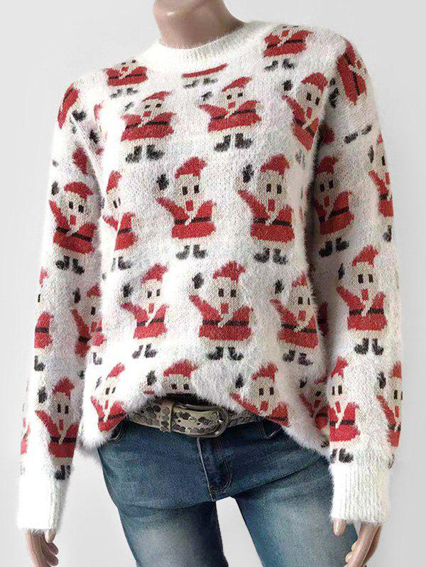 Santa Claus Graphic Fluffy Christmas Sweater - WHITE XL