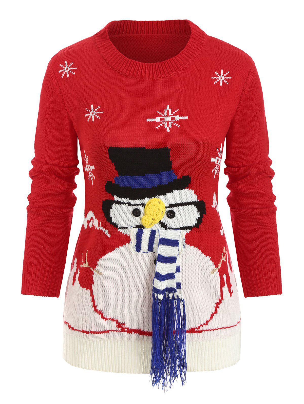 Christmas Longline Jumper Sweater - RED ONE SIZE