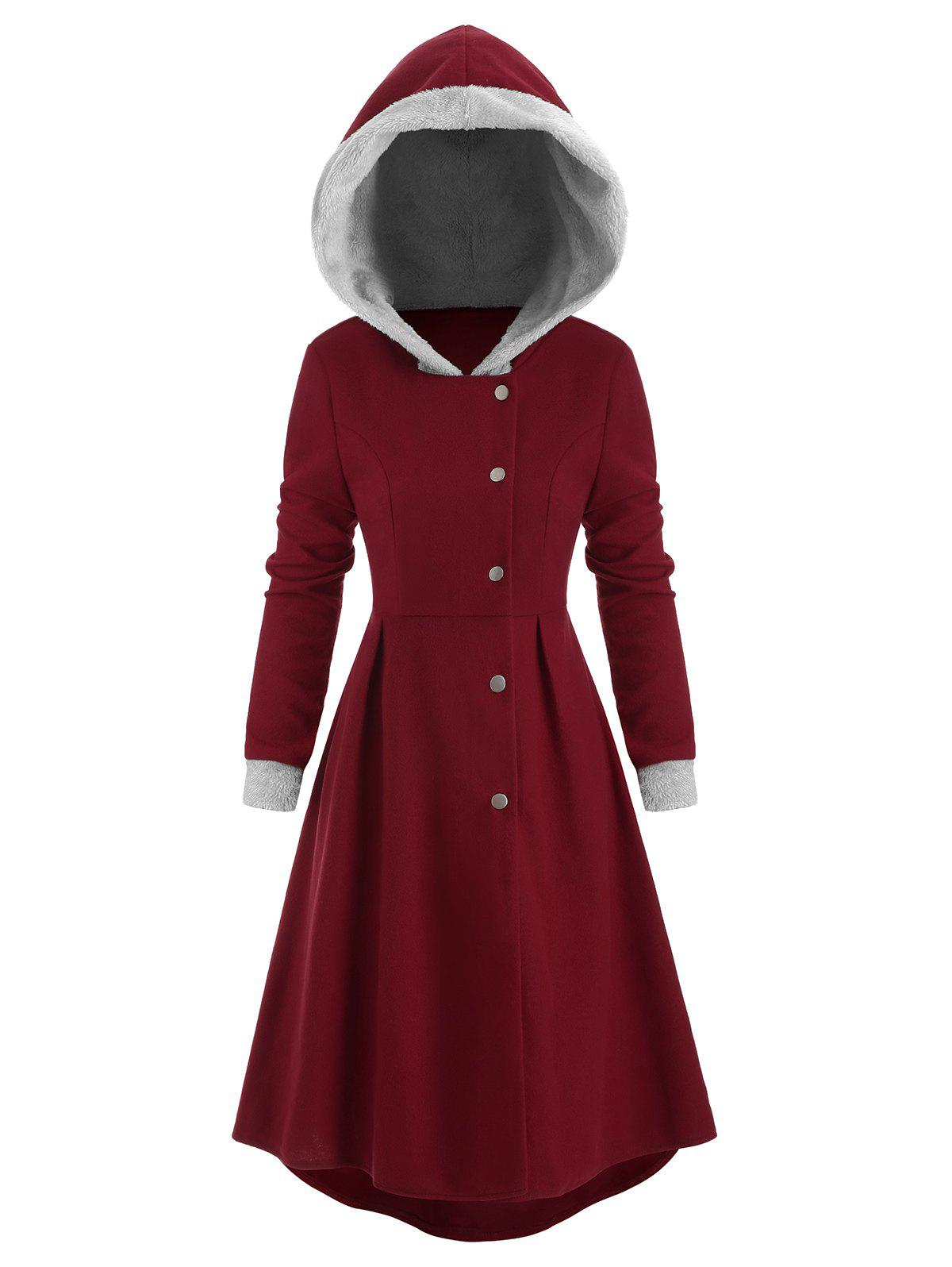 Snap Button Fur Trim Skirted Hooded Coat - RED WINE L