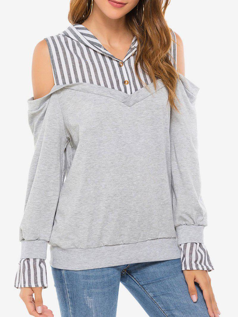 Striped Panel Cold Shoulder Hoodie - GRAY M