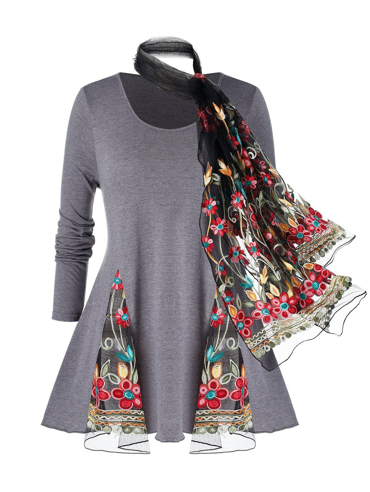 Plus Size Mesh Insert Embroidered Marled T Shirt And Scarf - GRAY 1X