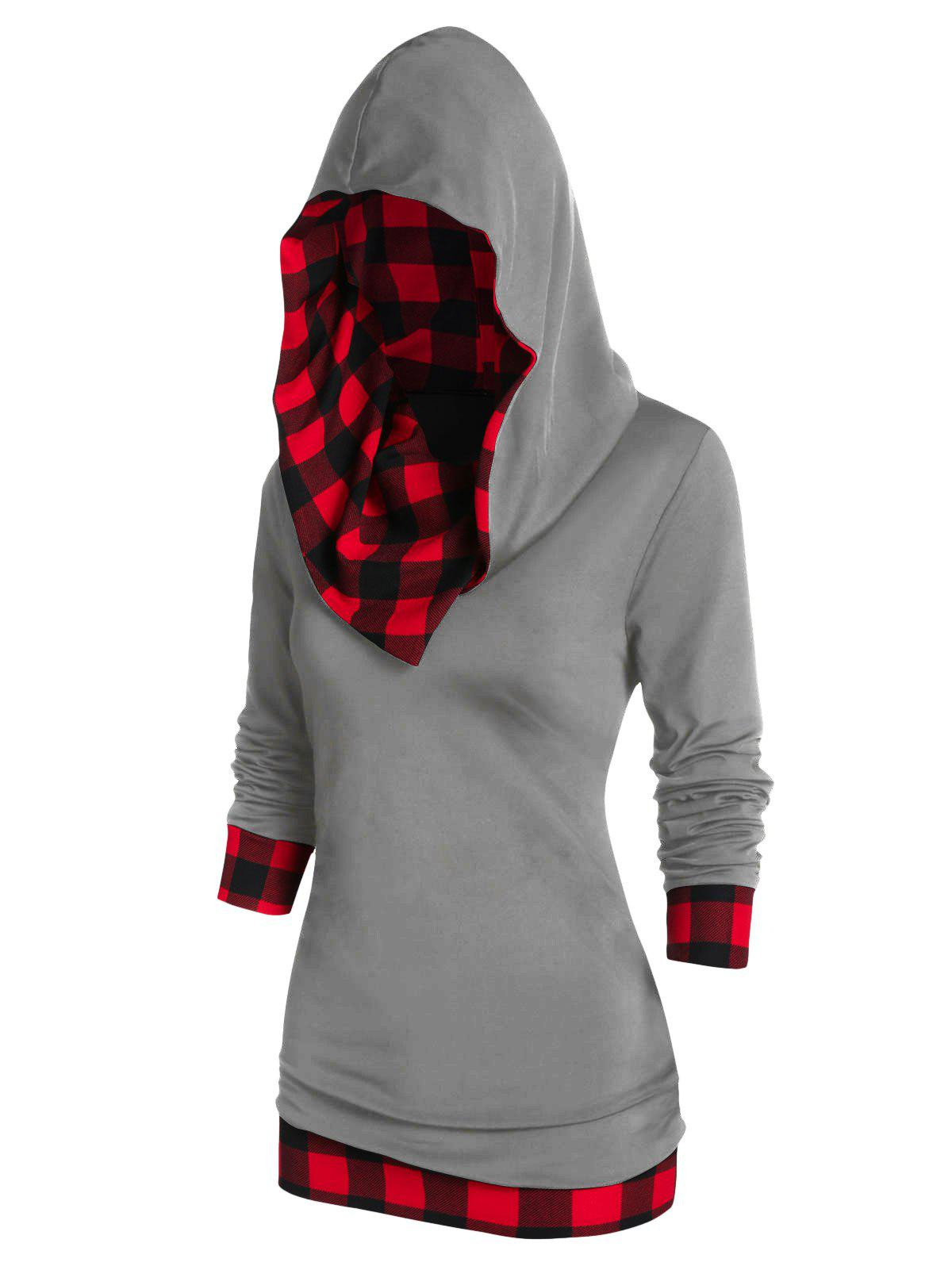 Checked Panel Hooded Long Sleeve T Shirt - DARK GRAY 2XL