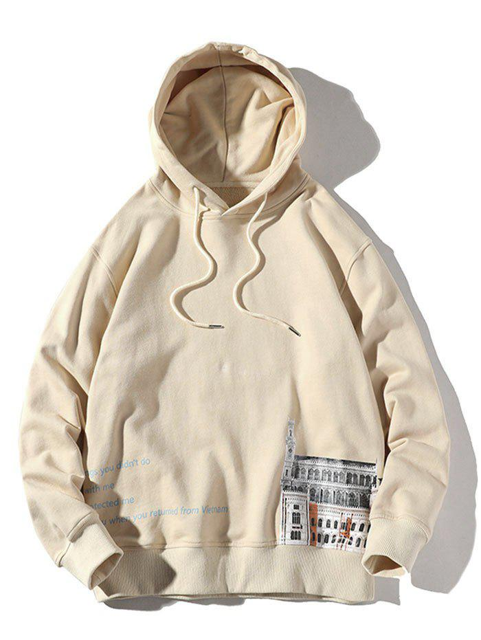 Plus Size Drawstring Letters and Building Print Pullover Hoodie - LIGHT KHAKI 4XL