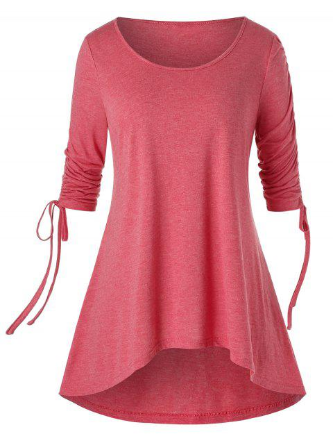 Plus Size High Low Cinched T Shirt - VALENTINE RED 5X