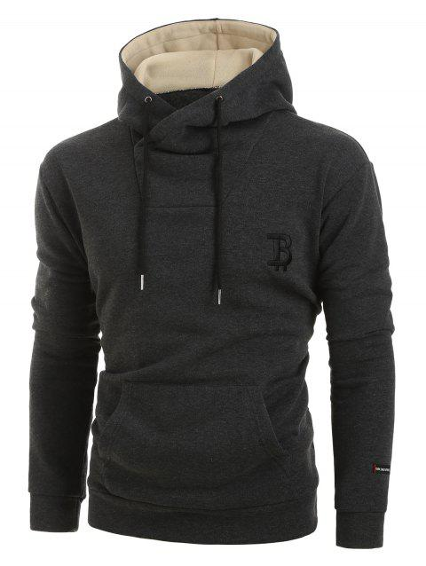 Letter Embroidery Long-sleeved Pocket Hoodie - CARBON GRAY 2XL