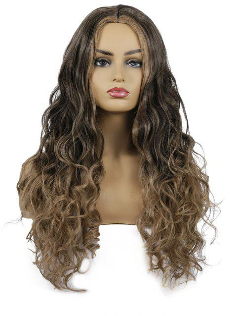 Center Part Wavy Synthetic Long Wig - BROWN