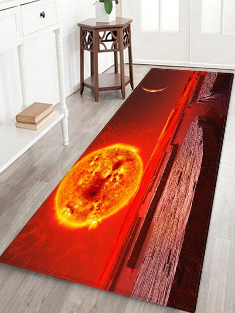 Abstract Sun Printed Floor Rug - LAVA RED W16 X L47 INCH