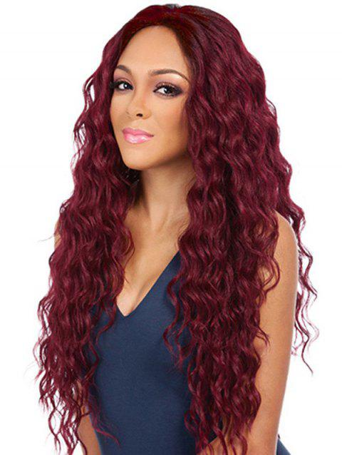 Center Part Long Halloween Synthetic Wavy Wig - RED WINE 24INCH